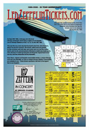 Led Zeppelin 30th Anniversary Skyline 4 ticket Main Floor set Framed only $199 and Free Shipping